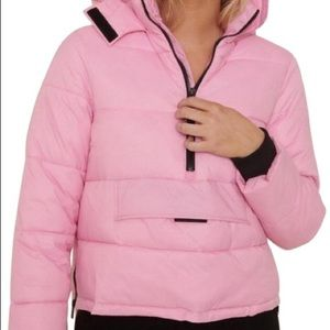 Pink puffer style hoodie